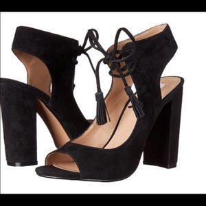 Block Heel black sandals with tie closure